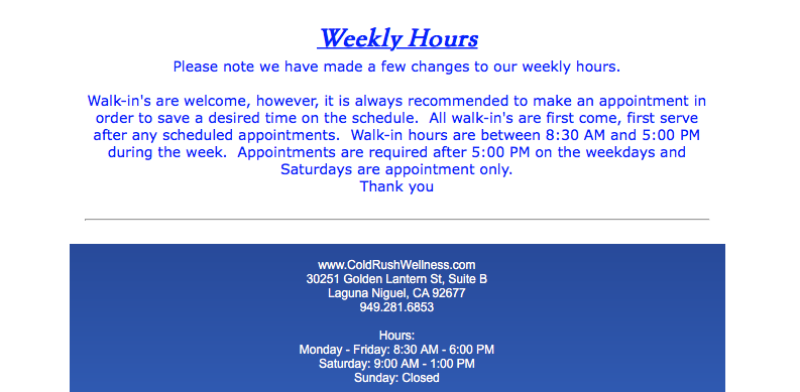 ColdRushWellness - WeeklyHours