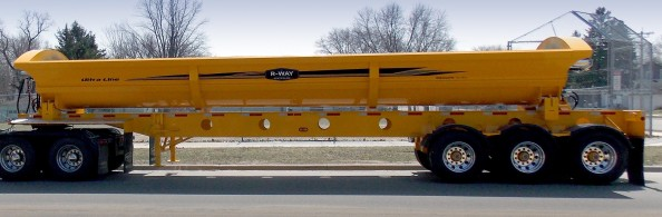 Yellow R-Way Side Dump Trailer from Krain Creek Fabrication in Long Prairie, MN