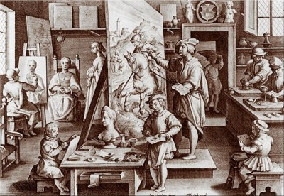 Jan van der Straet (Stradanus) Depiction of an artist's studio