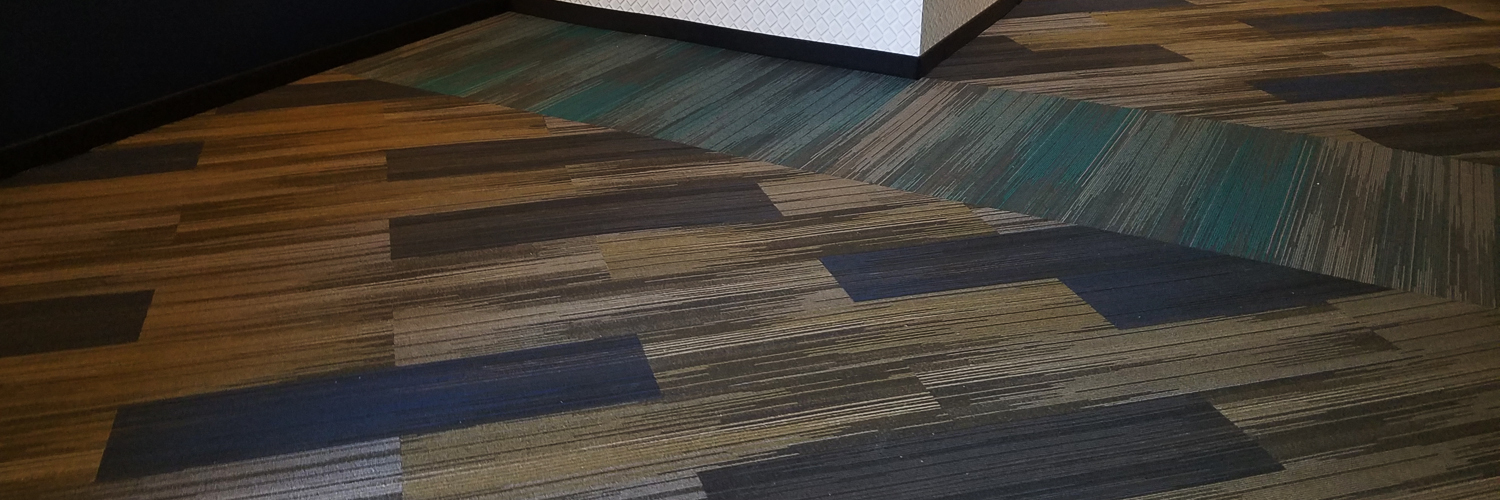 Diagonal Plank Carpet Tile in a Hotel Room