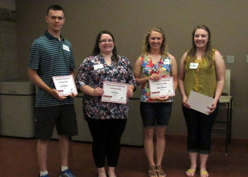 Federated Scholarship Recipients- Joey Schimnich, Tina Johnson, Emily Schimnich, and Caitlyn Shaw