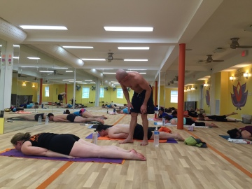 Yoga Class in Session at Bikram Yoga Roslyn in Roslyn, NY