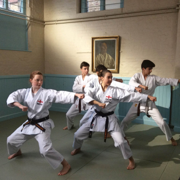 Karate Students Practicing at The Budokwai Martial Arts Club in London, UK