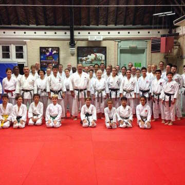 Karate Students at The Budokwai Martial Arts Club in London, UK