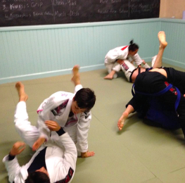 Two Students From The Budokwai Practicing Brazilian Jiu Jitsu