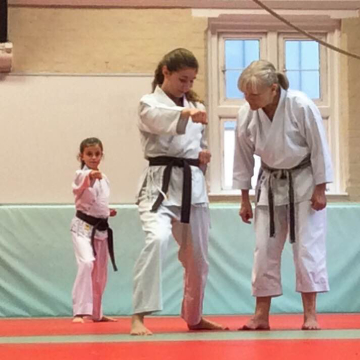 Martial Arts Instructor Teaching a Karate Student at The Budokwai in London, UK