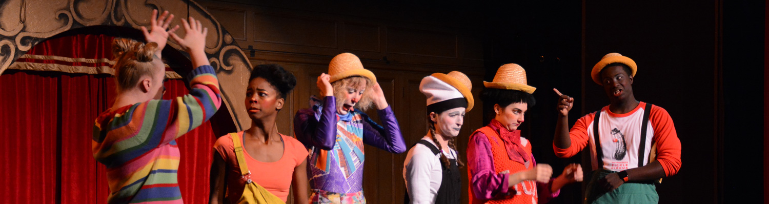 Clown Conservatory students pass on hats during a sketch in 'Ridiculosity' | Circus Center | 2017