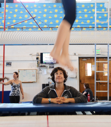 Tacher observes as young students jumps on the trampoline | Circus Center | San Francisco
