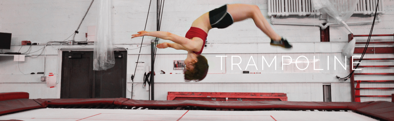 Student flipping as she jumps on the trampoline | Circus Center