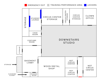 Map of Circus Center's Basement | San Francisco