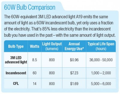 A comparison between LED, incandescent and CFL light bulbs.