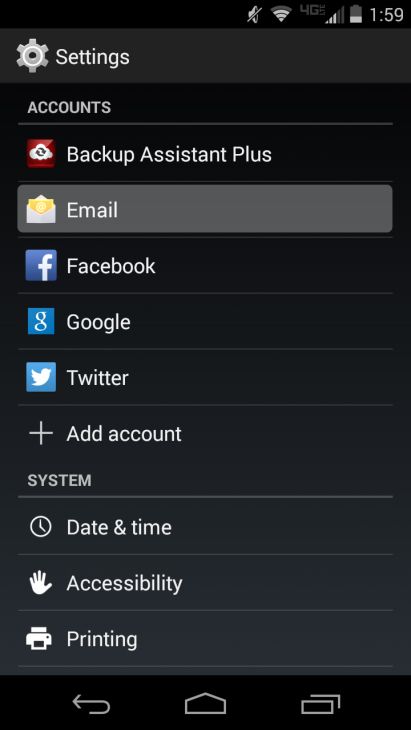 Android email setup 1