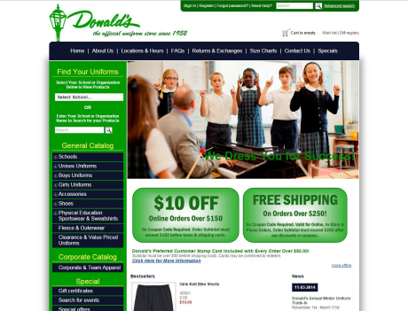 Donald's Uniform ecommerce