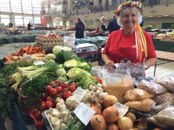 Hungarian food market vendor