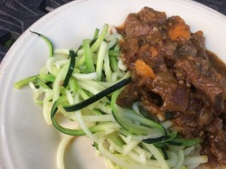 Lamb curry with zucchini noodles