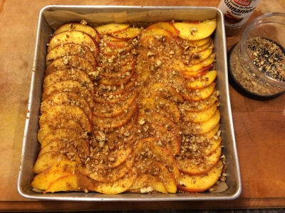 Peach cobbler layers