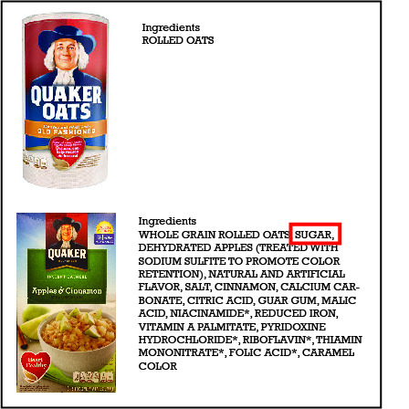 ingredients of both oatmeal