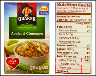 quaker oatmeal apple with box