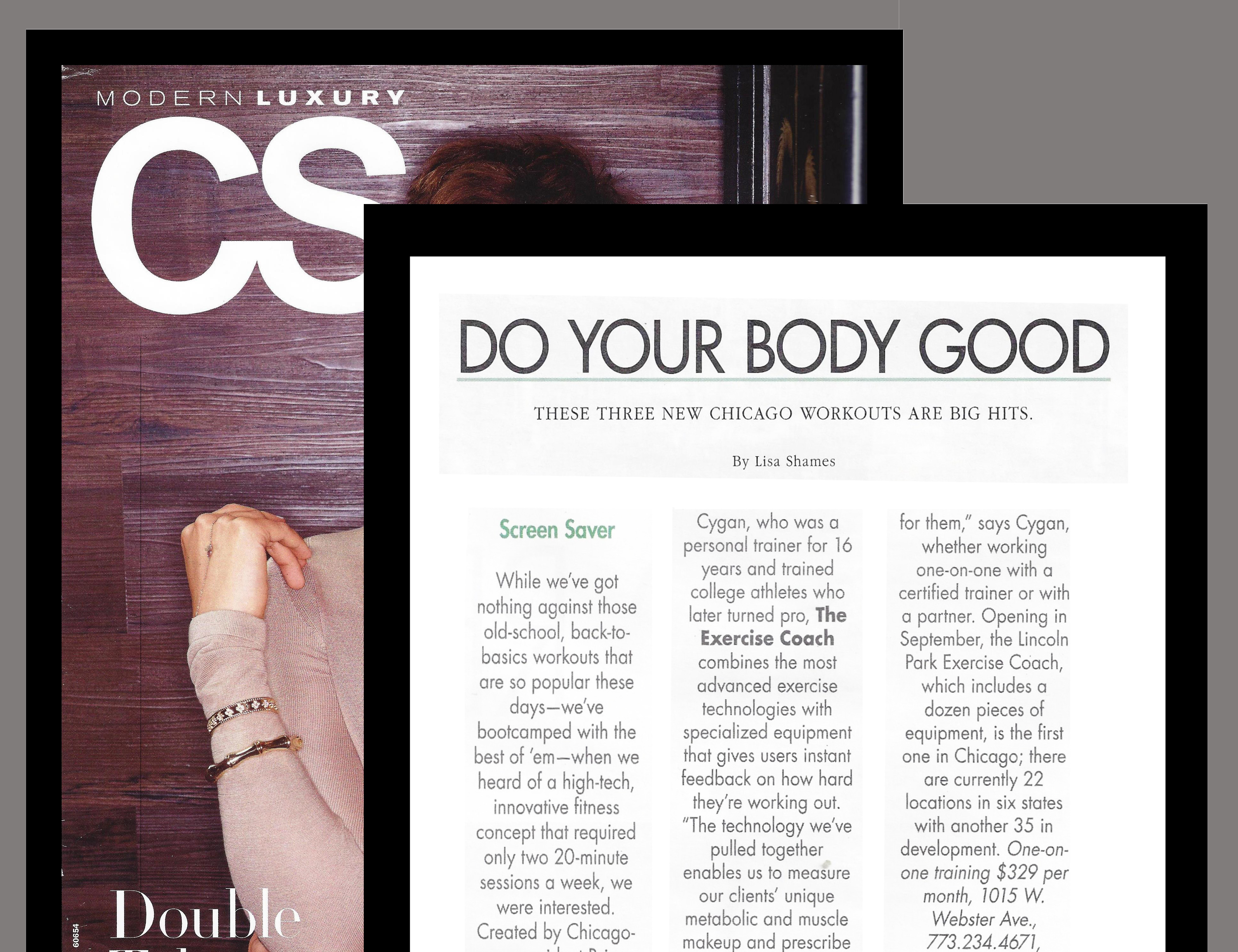The Exercise Coach Lincoln Park Featured in Modern Luxury Magazine