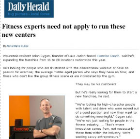 The Exercise Coach CEO Brian Cygan Featured In The Daily Herald