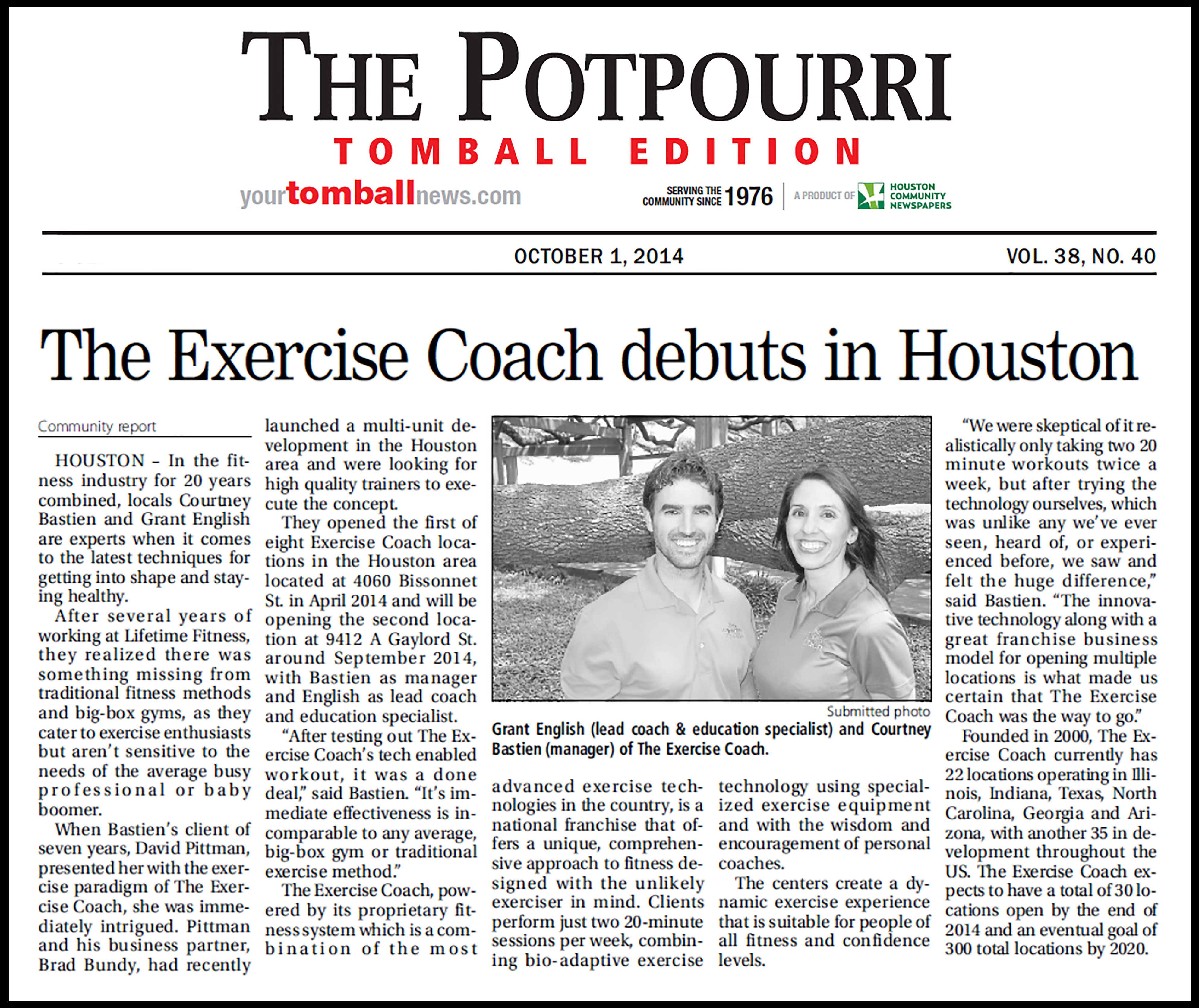 The Exercise Coach Houston Featured in The Potpourri