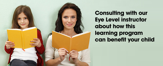 Consulting with our Eye Level instructor about how this learning program can benefit your child