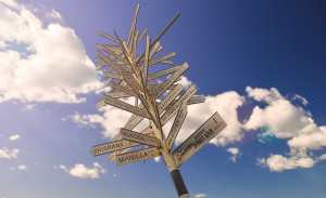 Signpost With Many Directions And Blue Sky_copy