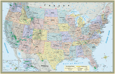 U S Map Poster Detailed Topography Actual Image Of Earth S Surface Labeled States Cities And Areas Of Interest