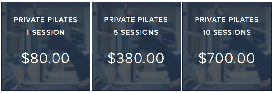 Junction9 Private Pilates Rates