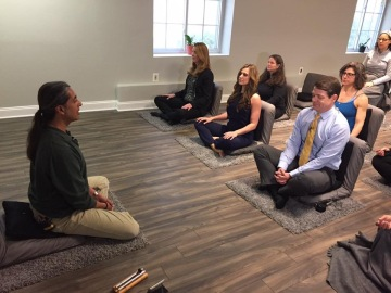 A group of students learning to meditate at Just Meditate in Bethesda MD