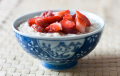 Breakfast porridge with strawberries