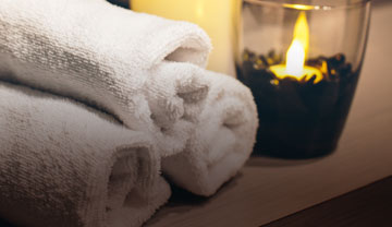 Towel and Candle at Massage Sway at the Domain in Austin, TX