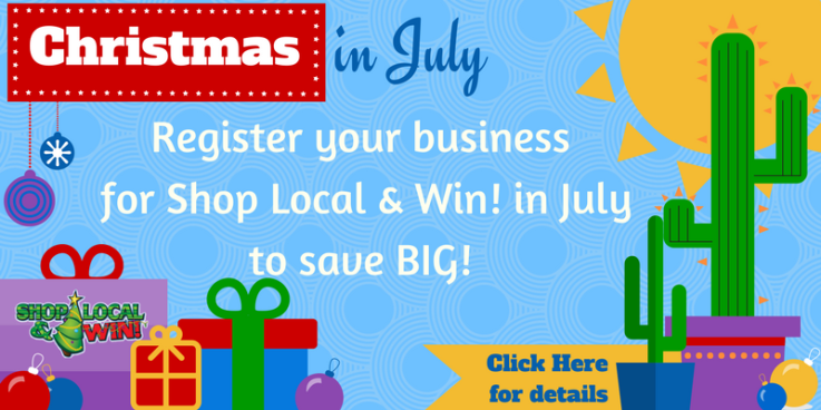 SHOP LOCAL AND WIN button