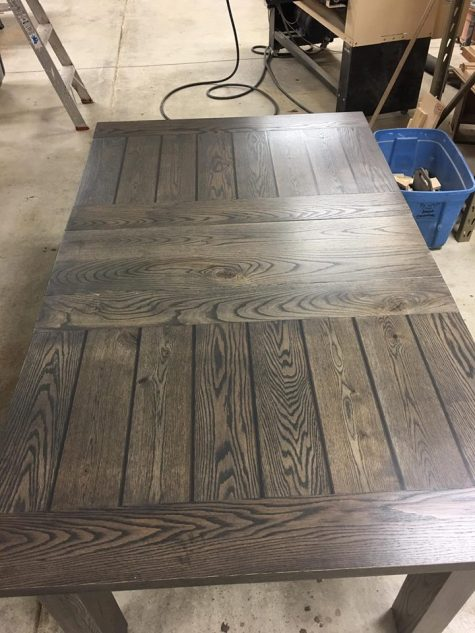 Rough Oak Center Leaf Table Stained In Our Custom Stain Blend Weathered Grey With Bread Board Ends And Signature Smooth Groove Finish