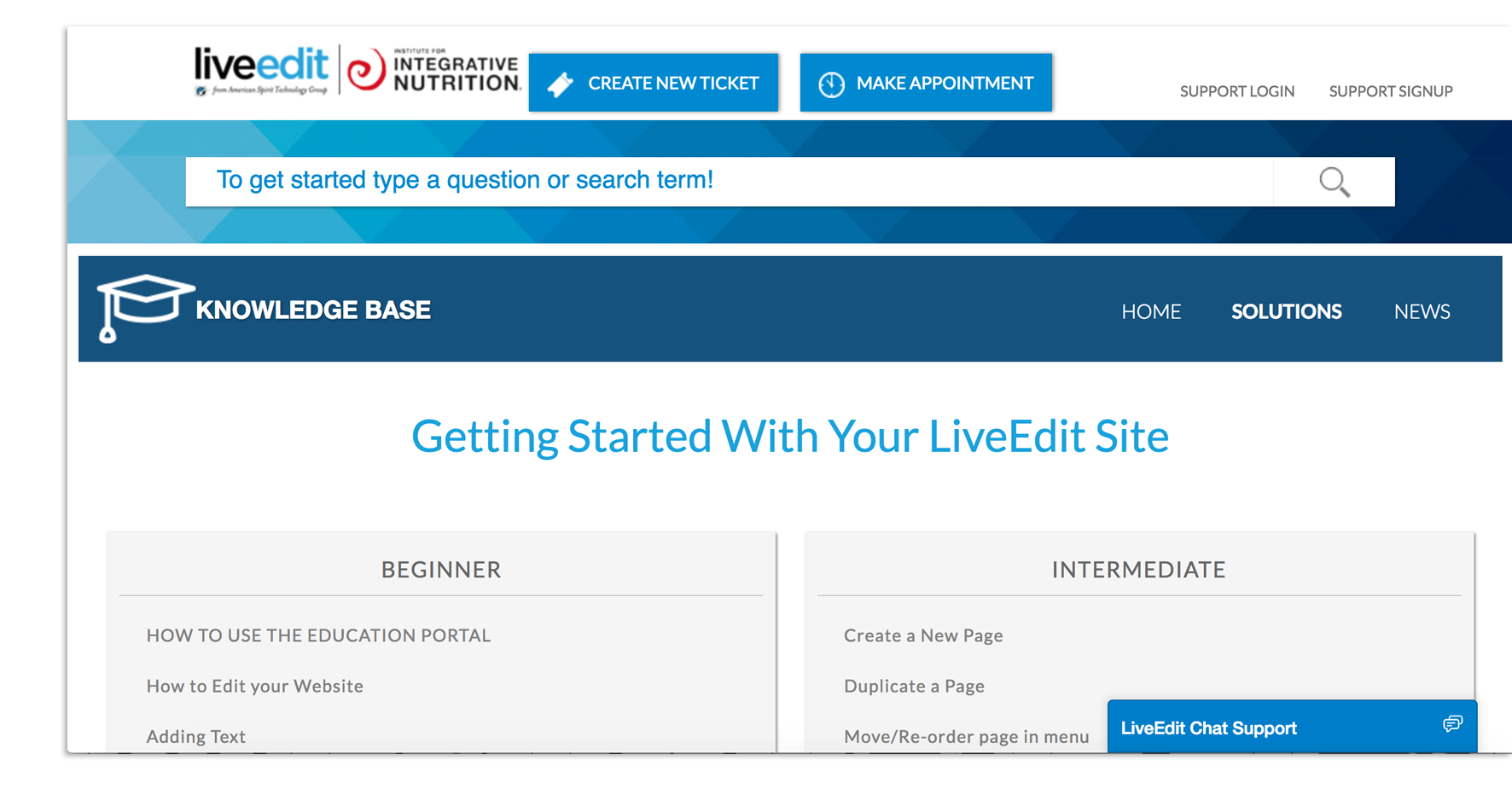 LiveEdit Education Portal