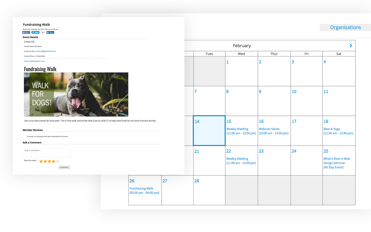Calendar functions on the LiveEdit Platform
