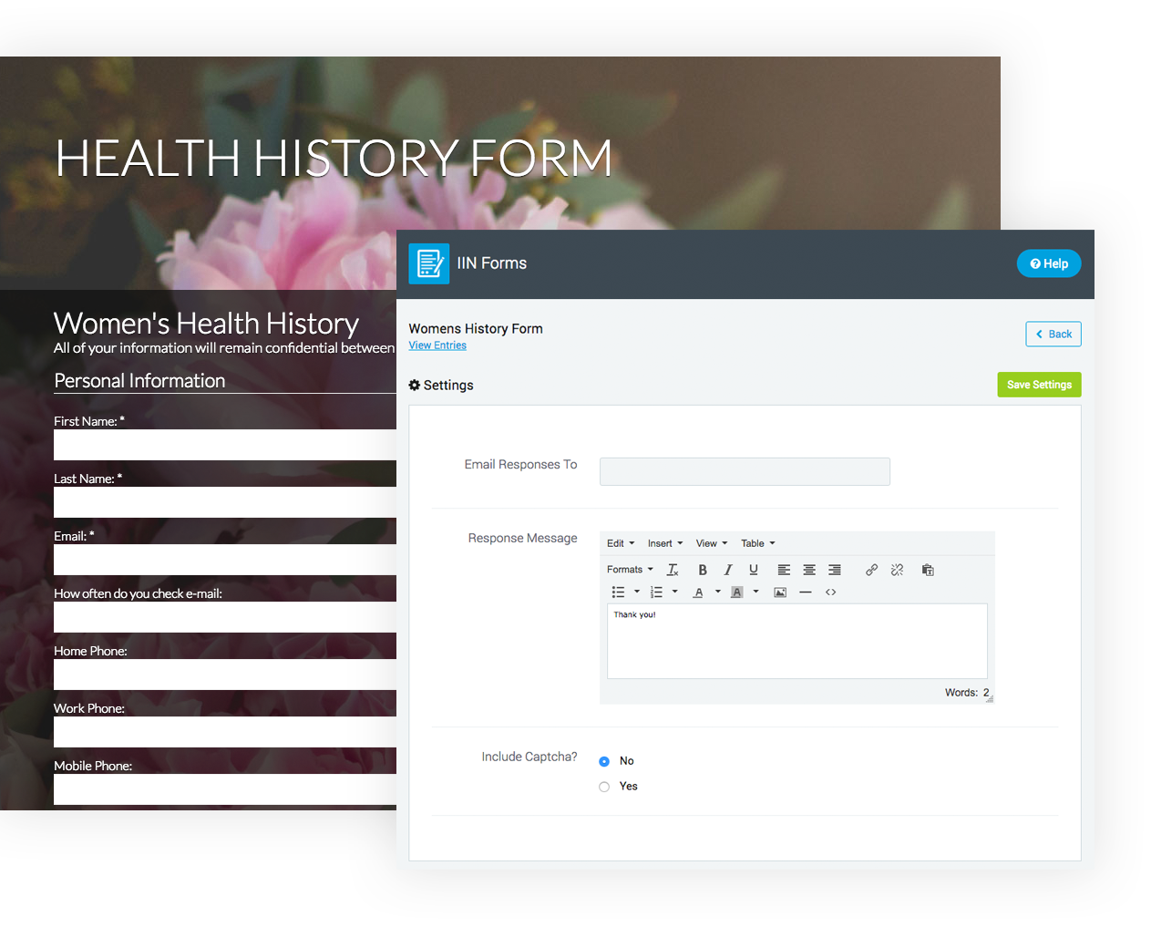 Built-in Health History Forms