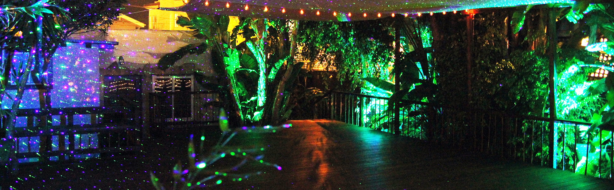 Nightime Shot of the Outdoor Yoga Deck at Riffs Studios in La Jolla