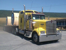 North Dakota flatbed Yellow truck