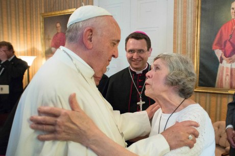 Mary Jo Copeland with Pope Francis