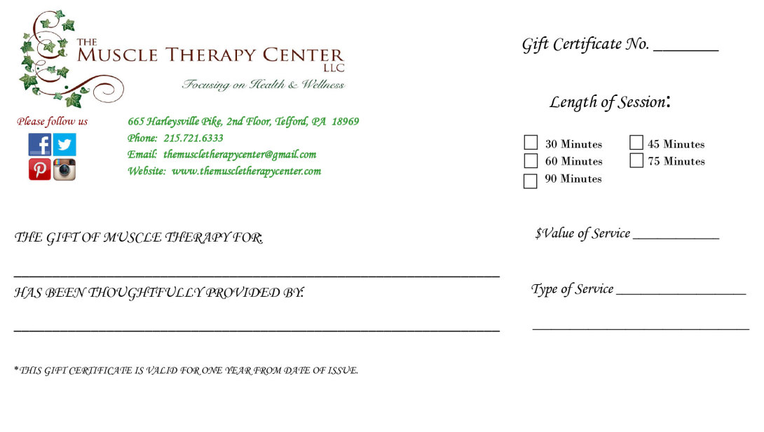 Gift certificate at The Muscle Therapy Center