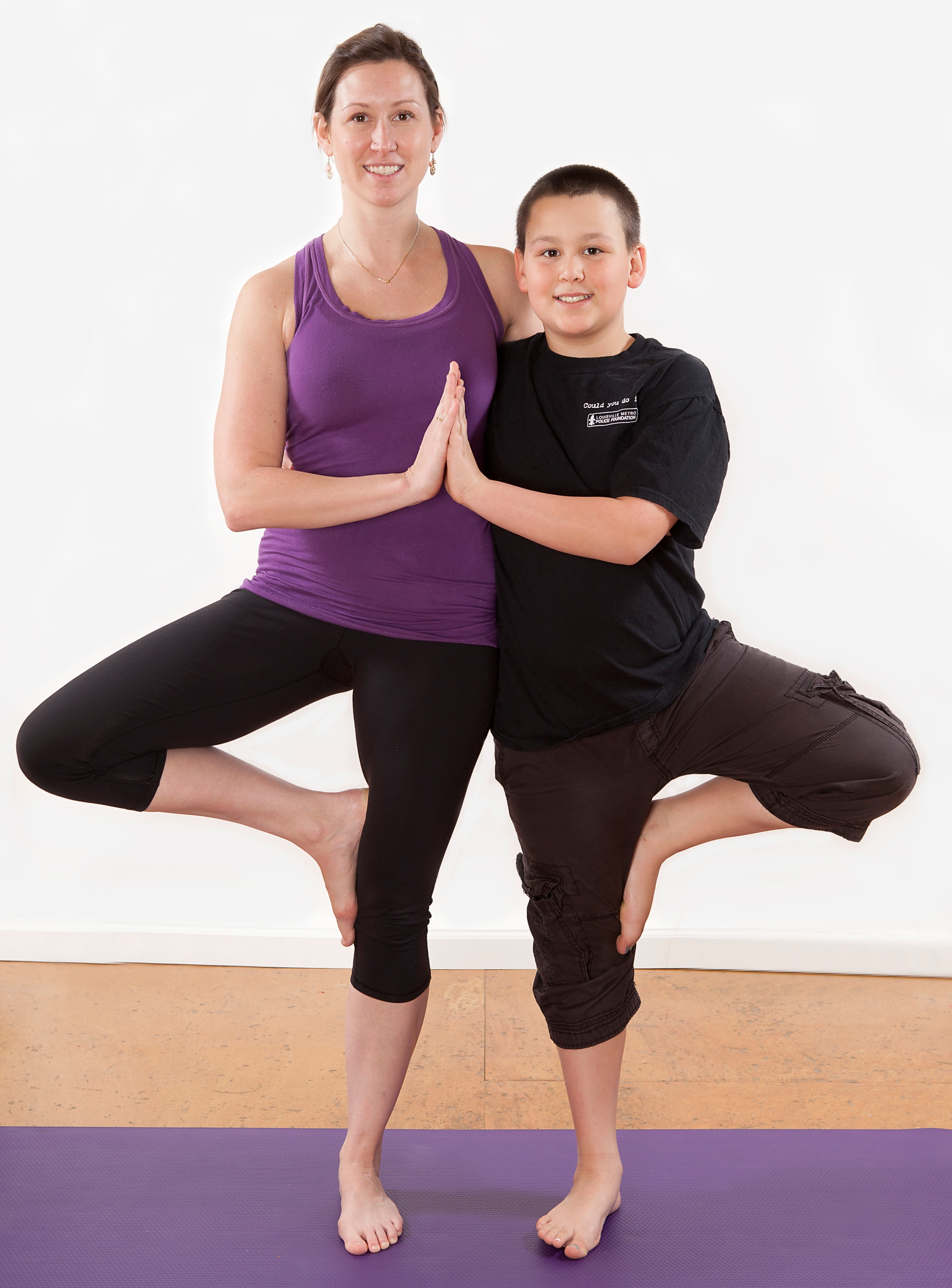 Brandi and her son Julian in Tree Pose